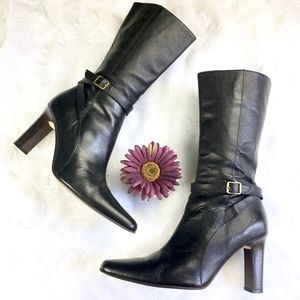 J Crew Black Leather Buckle Heeled Boots Italy 8